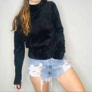 Leith black fuzzy cozy sweater